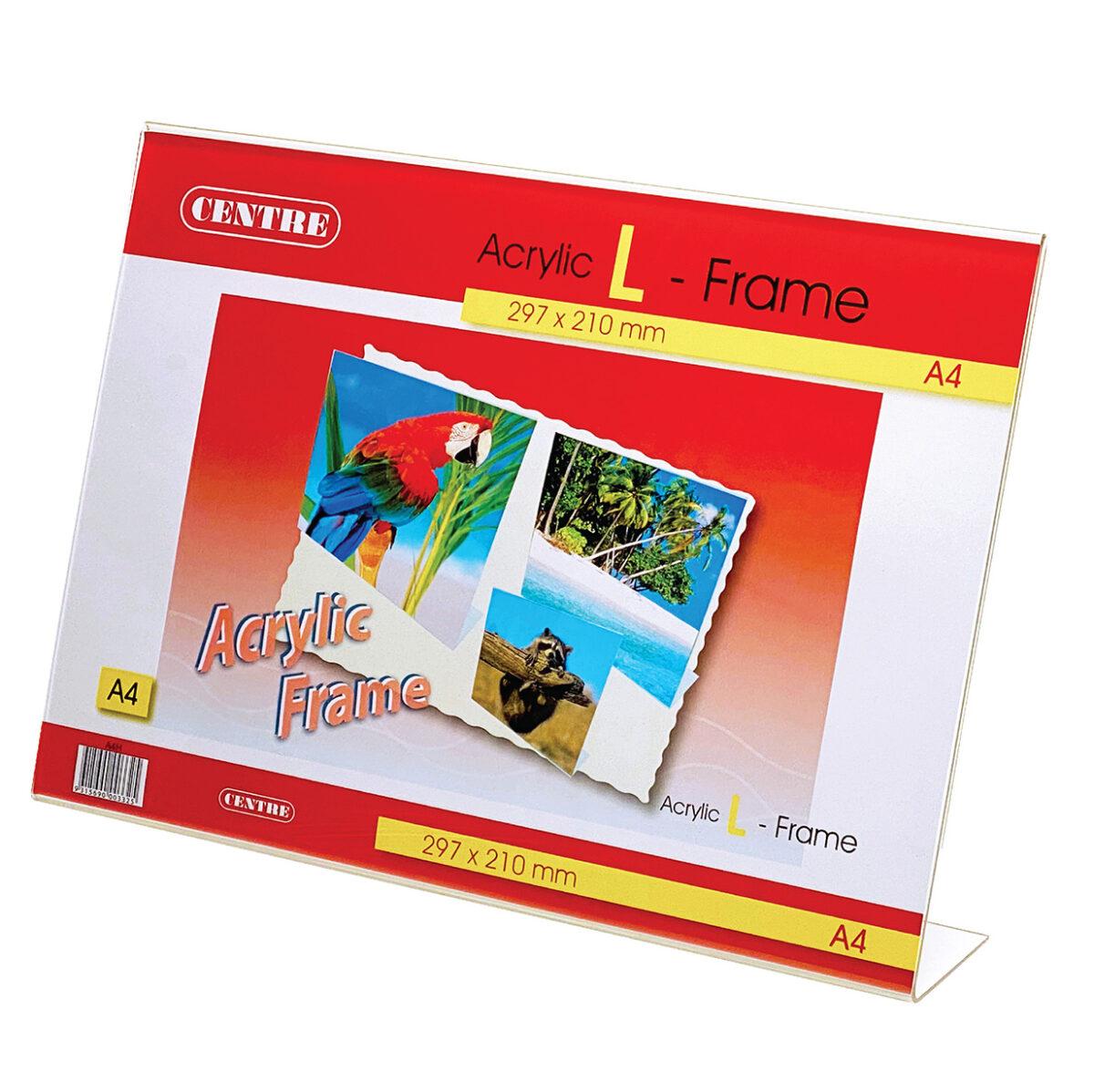 Centre Acrylic Picture Frame - L Stand Landscape A4
