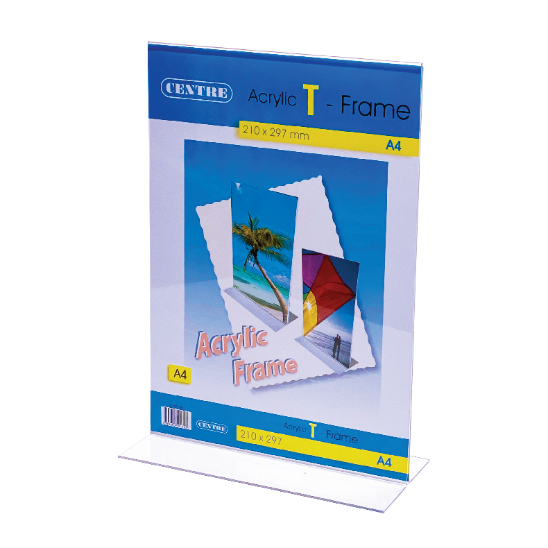Centre Acrylic Picture Frame - T Stand Portrait A4