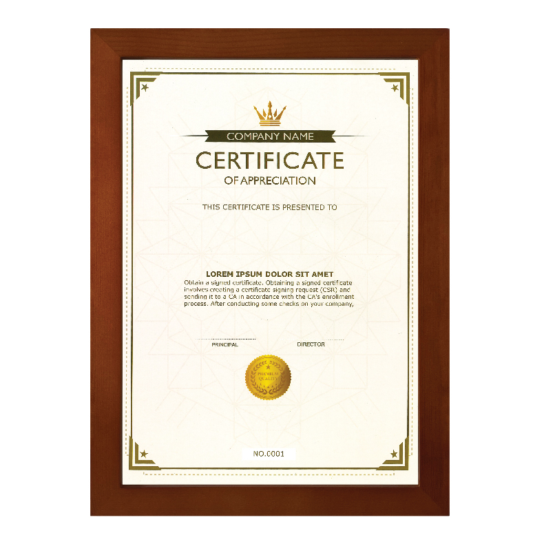 Centre Wooden Photo Frame For Certificate / Picture - A4