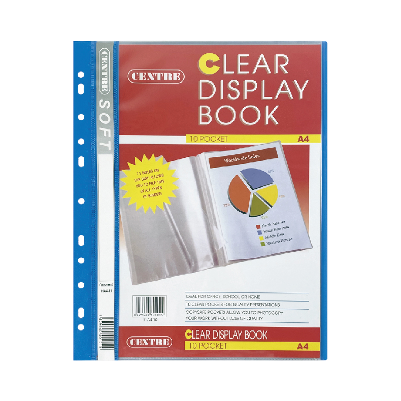 Centre Clear Book 11 Hole A4 10 Pockets