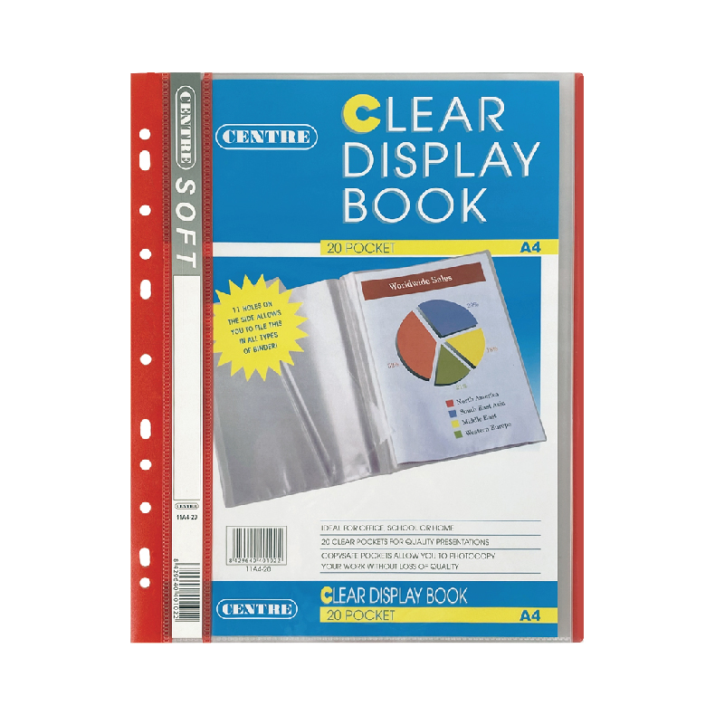 Centre Clear Book 11 Hole A4 20 Pockets