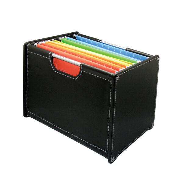 LA VIDA Faux Leather Filing Box (with 5 Filing Pockets)