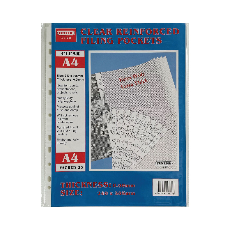 Centre 11-Hole A4 Clear Sheet Protector 0.05mm/0.08mm (100pc)